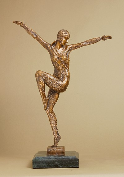 GORGEOUS ART DECO DANSEUSE BRONZE SIGNED SCULPTURE