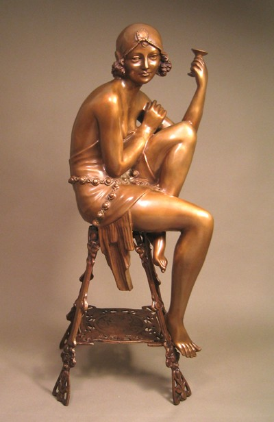 SENSUAL ART DECO LADY WITH CHAMPAGNE BRONZE SIGNED SCULPTURE