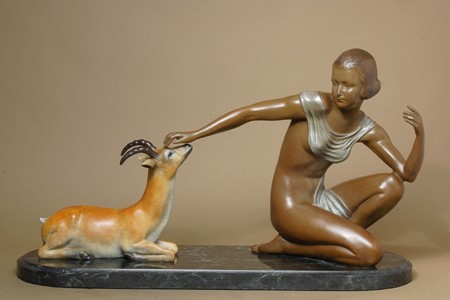 GORGEOUS GIRL AND IMPALA ART DECO BRONZE SIGNED SCULPTURE