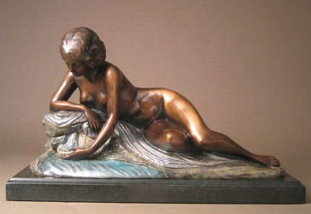 SENSUOUS LOUNGING NUDE AT POND BRONZE SCULPTURE