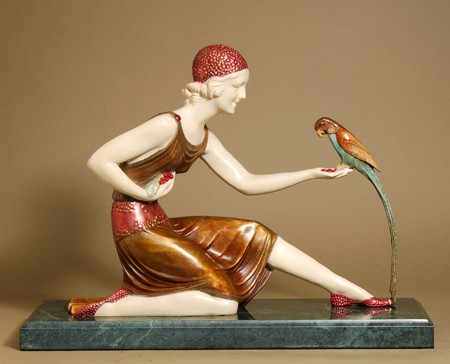 GIRL WITH EXOTIC PARROT BRONZE SIGNED SCULPTURE