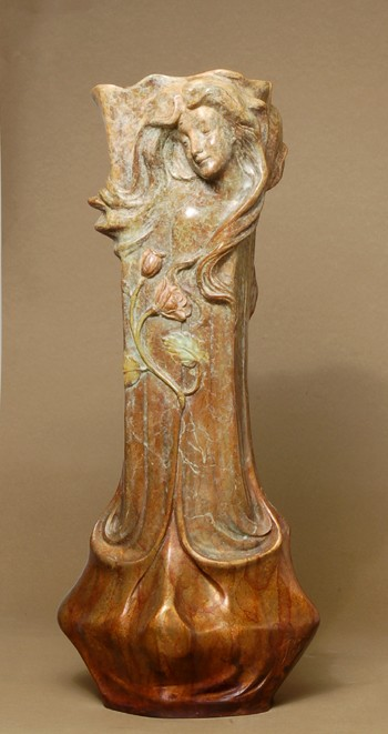 BEAUTIFUL LORAN ART NOUVEAU FLORAL BRONZE VASE