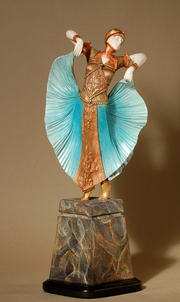 EXCITING EXQUISITE   ART DECO BUTTERFLY DANCER BRONZE SCULPTURE