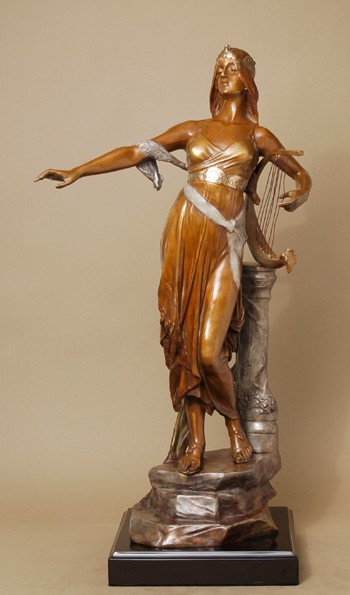BEAUTIFUL WOMAN WITH HARP BRONZE BY  DROUOT