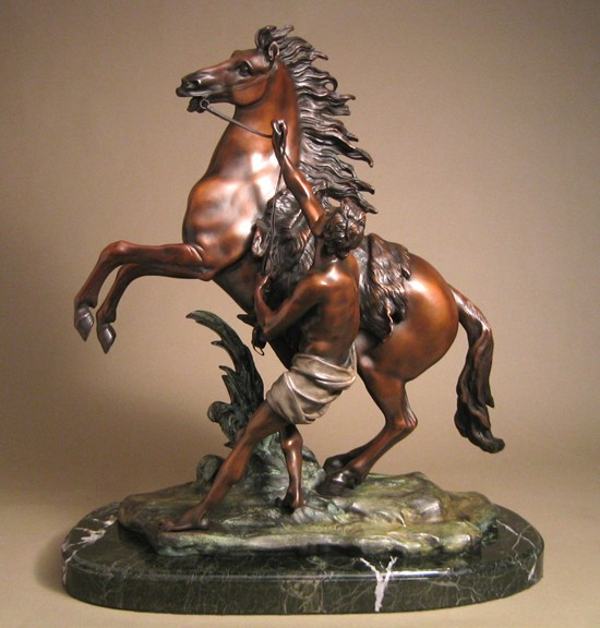THE IMPRESSIVE DEFIANT  HORSE BRONZE SCULPTURE