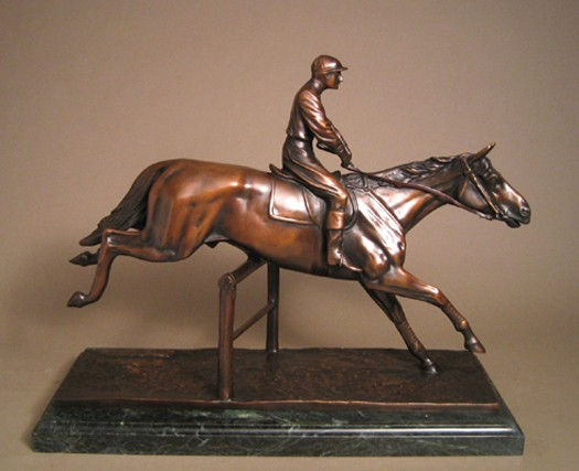 THE STEEPLE EQUESTRIAN CHASE  BRONZE SCULPTURE