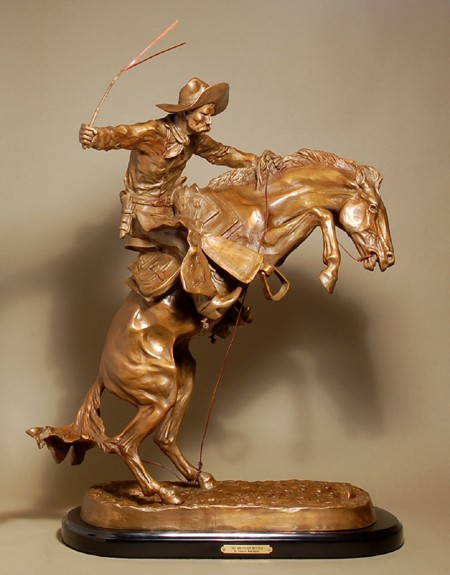 STUNNING DYNAMIC BRONZE THE BRONCHO BUSTER BY FREDERIC REMINGTON