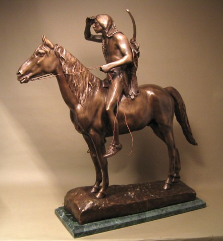 MAJESTIC STUNNING WESTERN INDIAN SCOUT BRONZE  SCULPTURE