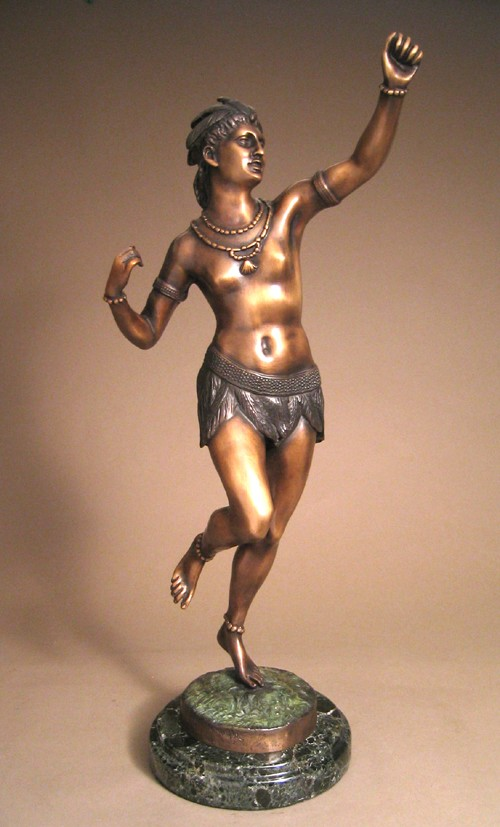 GORGEOUS NATIVE AMERICAN PRINCESS BRONZE SCULPTURE