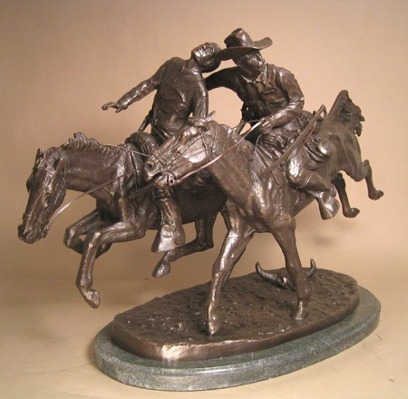 EXTRAORDINARY STUNNING FREDERIC REMINGTON WOUNDED BUNKIE BRONZE