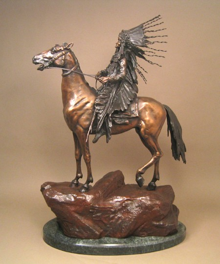 MAJESTIC STUNNING WESTERN  THE  INDIAN CHIEF BRONZE  SCULPTURE