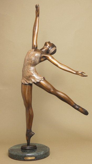 GORGEOUS BALLERINA  DANSEUSE BRONZE SIGNED SCULPTURE