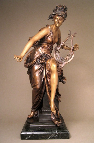 EXCITING EXQUISITE WOMAN OF MUSIC  BRONZE SCULPTURE