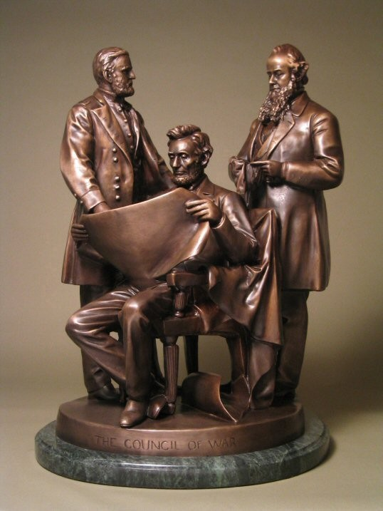EXTRAORDINARY STUNNING WAR COUNCIL BRONZE  SCULPTURE