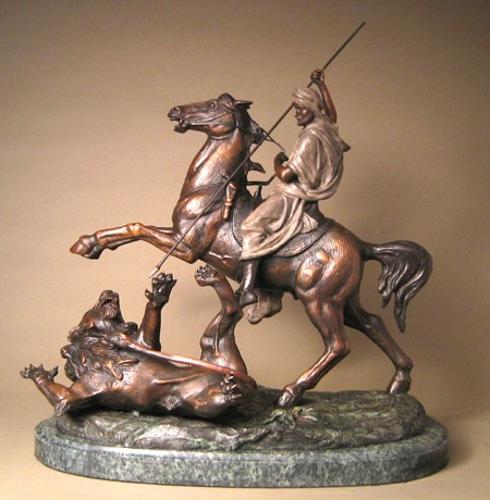 CLASSIC BRONZE THE HUNT OF THE LION SCULPTURE