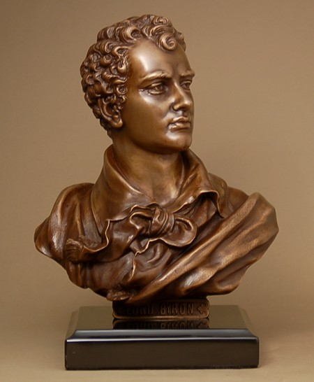 ELEGANT BRONZE BUST OF LORD BYRON  SCULPTURE