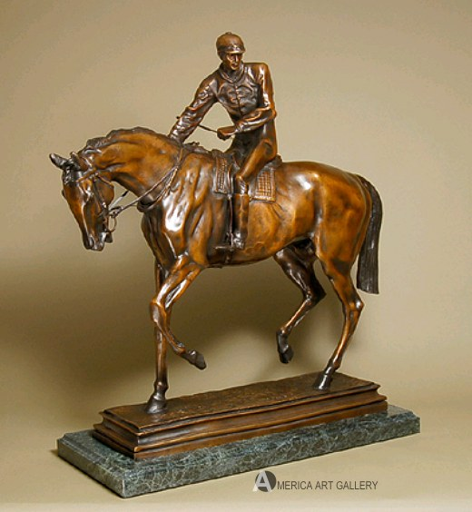 EQUESTRIAN LE JOCKEY GRAND BRONZE SCULPTURE SIGNED COA