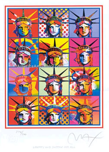 PETER MAX LIBERTY AND JUSTICE FOR ALL HAND SIGNED w/COA
