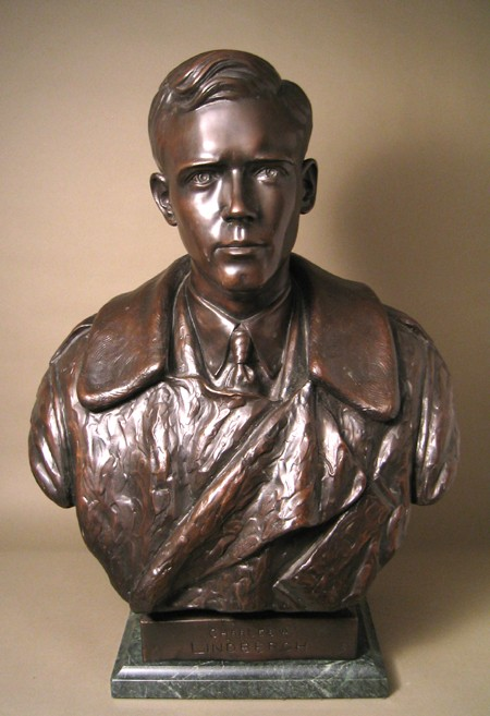 HANDSOME ELEGANT BRONZE BUST OF CHARLES LINDBERG  SCULPTURE