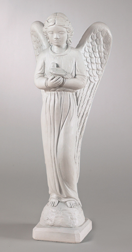 SPLENDID YOUNG ANGEL WITH DOVE STATUE SCULPTURE