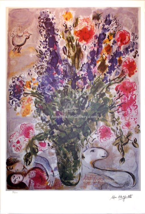 MARC CHAGALL BLUE FLOWERS SIGNED AND NUMBERED