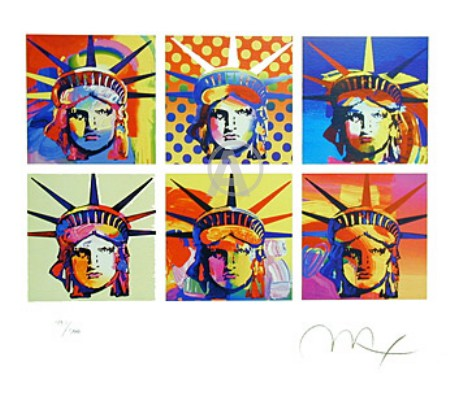 PETER MAX RARE SIX STATUES OF LIBERTY HAND SIGNED LITHOGRAPH