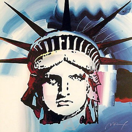 PETER MAX STUNNING RARE LIBERTY HEAD LITHOGRAPH HAND SIGNED BLUE