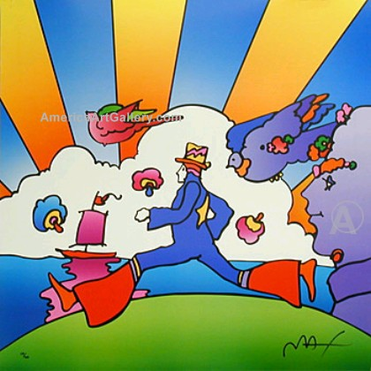PETER MAX COSMIC RUNNER HAND SIGNED LITHOGRAPH