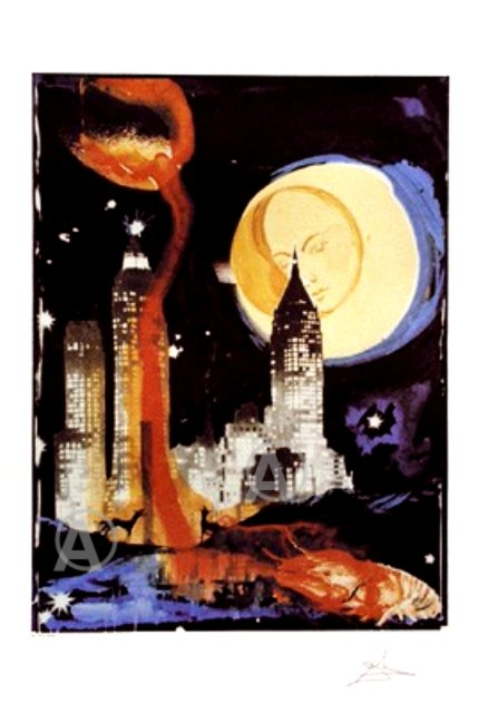 SALVADOR DALI SKYLINE OF NEW YORK Ltd ED LITHO w/COA