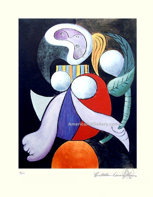 PABLO PICASSO CUBIST LADY WITH FLOWER SIGNED L/E w/COA