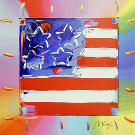 GREAT! HAND SIGNED PETER MAX VIBRANT AMERICA FLAG COA