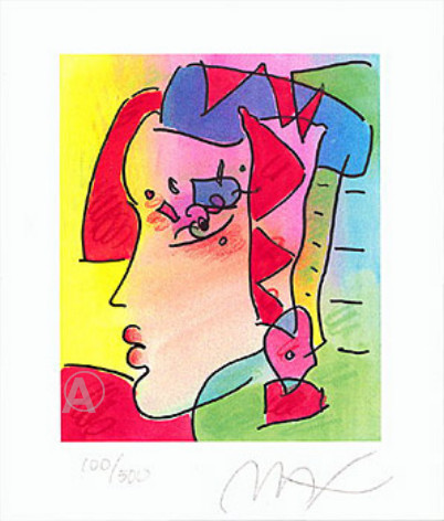 PETER MAX RARE LADY PROFILE IV HAND SIGNED LITHO w/COA