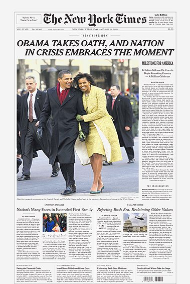 NEW YORK TIMES OBAMA COVER INAUGURATION JANUARY 21, 2009 NEWSPAP